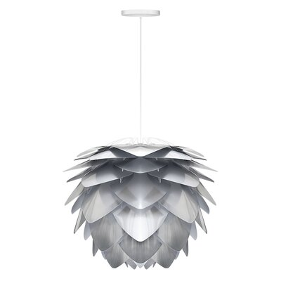 Deerfield 1-Light Hardwired Pendant Cord/Cable Finish: White, Finish: Steel, Size: 10.6 H x 13.4 W x 13.4 D