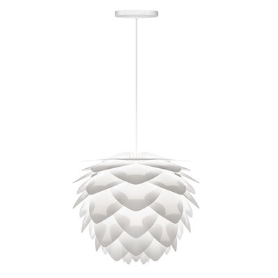Deerfield 1-Light Hardwired Pendant Cord/Cable Finish: White, Finish: White, Size: 17.7 H x 17.7 W x 17.7 D