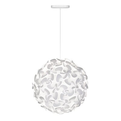 Whitworth 1-Light Globe Hardwired Pendant Cord/Cable Finish: White, Size: 17.7 H x 17.7 W x 17.7 D