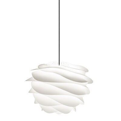 Crowthorne 1-Light Plug-In Geometric Pendant Cord/Cable Finish: Black, Finish: White, Size: 17.2 H x 18.9 W x 18.9 D