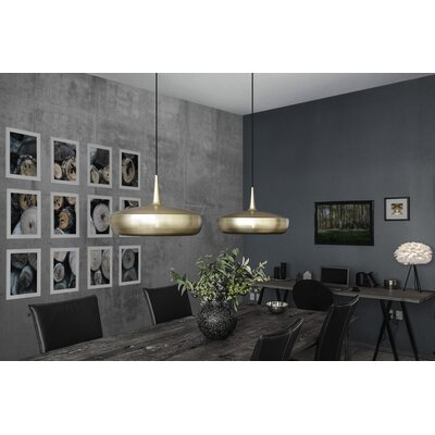 University Place 1-Light Hardwired Pendant Finish: Brushed Brass, Cord/Cable Finish: Black