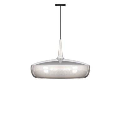 University Place 1-Light Hardwired Pendant Finish: Polished Steel, Cord/Cable Finish: Black