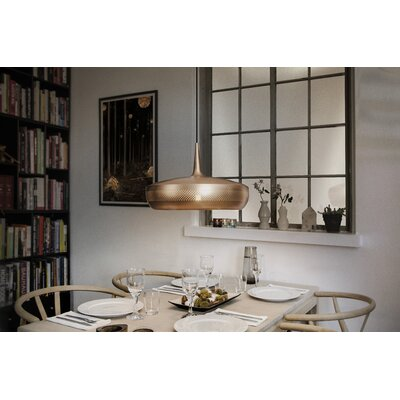 University Place 1-Light Hardwired Pendant Finish: Brushed Copper, Cord/Cable Finish: Black
