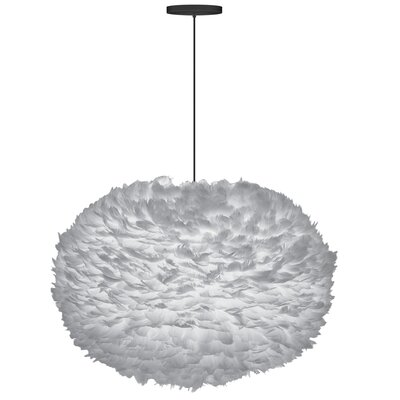 Bradway Hardwired 1-Light LED Gray Globe Pendant Size: 17.7 H x 29.5 W x 29.5 D, Shade Color: Gray, Base Finish: White