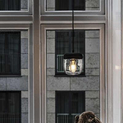 Upper Strode 1-Light LED Mini Pendant Finish: Polished Brass, Base Finish: Black
