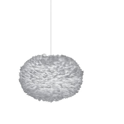 Bradway Plug-In 1-Light LED Globe Pendant Base Finish: White, Shade Color: Gray, Size: 15.7 H x 25.6 W x 25.6 D