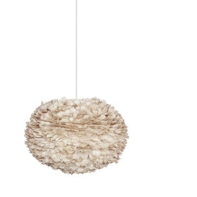 Bradway Plug-In 1-Light LED Globe Pendant Base Finish: White, Shade Color: Light Brown, Size: 15.7 H x 25.6 W x 25.6 D
