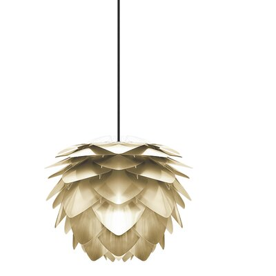 Deerfield Hardwired 1-Light LED Geometric Pendant Base Finish: White, Size: 10.6 H x 13.4 W x 13.4 D