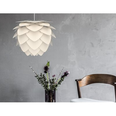 Hardwired 1-Light Geometric Pendant Base Finish: White, Shade Color: Yellow, Size: 18.9 H x 23.3 W
