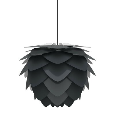 Plug-In 1-Light Geometric Pendant Base Finish: Black, Shade Color: White, Size: 11.8 H x 15.7 W
