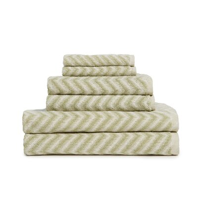 6 Piece Cotton Towel Set Color: Sage