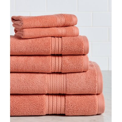 6 Piece Towel Set Color: Coral