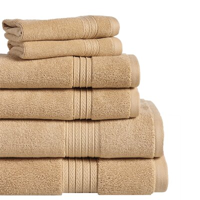 6 Piece Towel Set Color: Straw