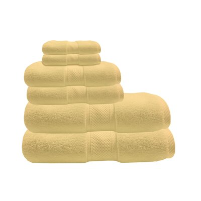 Zero Twist 6 Piece Towel Set Color: Butter