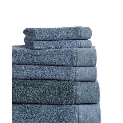 Stonewash Cotton 6 Piece Towel Set Color: Denim