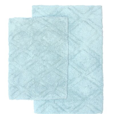 Diamond Scape 2 Piece Bath Rug Set Color: Spa Blue