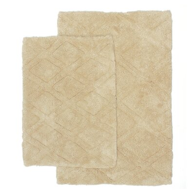 Diamond Scape 2 Piece Bath Rug Set Color: Tan