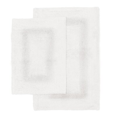 Athens 2 Piece Bath Rug Set Color: White