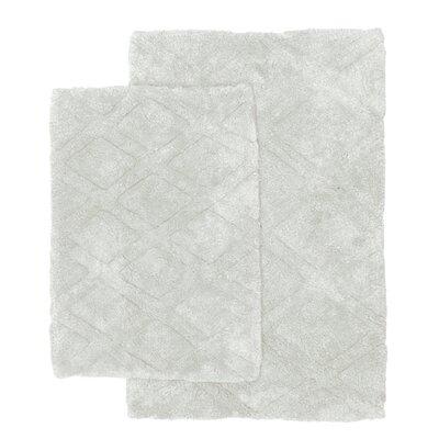 Diamond Scape 2 Piece Bath Rug Set Color: Light Gray