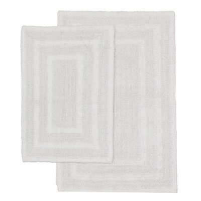 Monaco 2 Piece Bath Rug Set Color: White