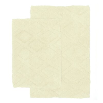 Diamond Scape 2 Piece Bath Rug Set Color: Bone