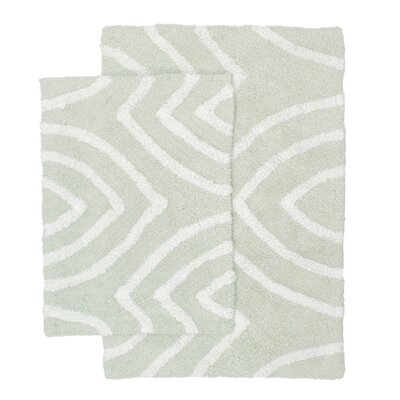 Leaf Tips 2 Piece Bath Rug Set Color: Light Gray