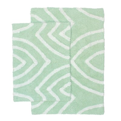 Leaf Tips 2 Piece Bath Rug Set Color: Seafoam