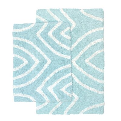 Leaf Tips 2 Piece Bath Rug Set Color: Spa Blue