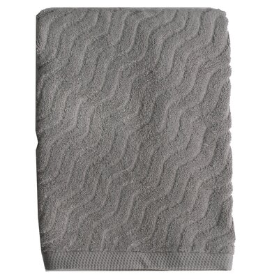 Wave Jacquard Bath Towel Color: Gray
