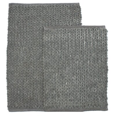 Marina 2 Piece Bath Rug Set Color: Gray