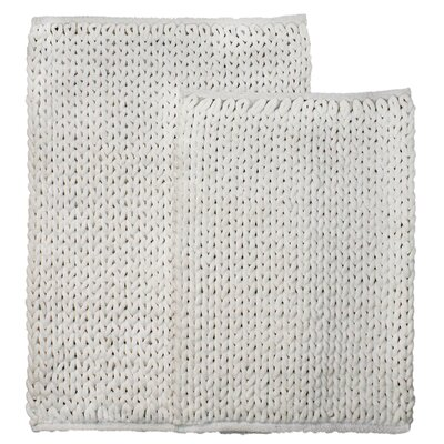 Marina 2 Piece Bath Rug Set Color: White