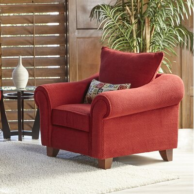 Slark Arm Chair and Ottoman Color: Red