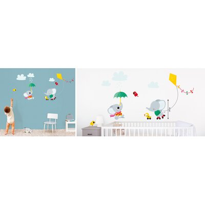Elephant Flying Kite Kids Wall Decal