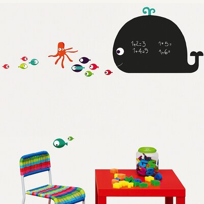 Whale and Octopus Chalkboard Wall Decal