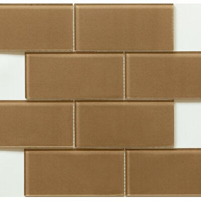 Blocco 3 x 6 Glass Subway Tile in Coffee Bean