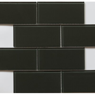 Blocco 3 x 6 Glass Subway Tile in Turtle Gray