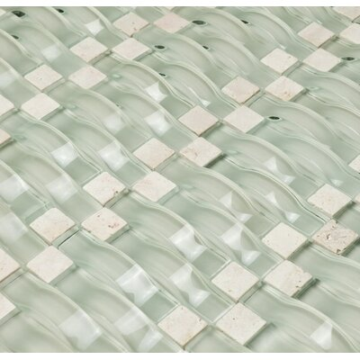 Vento Random Sized Glass and Natural Stone Mosaic Tile in Mystic Sea