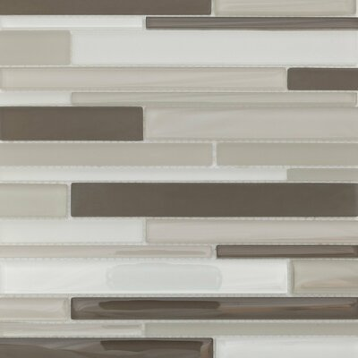 Strada Random Sized Glass Mosaic Tile in Gray and White