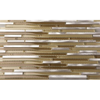 Riga Random Sized Metal/Glass/Stone Mosaic Tile in Steel Mocha