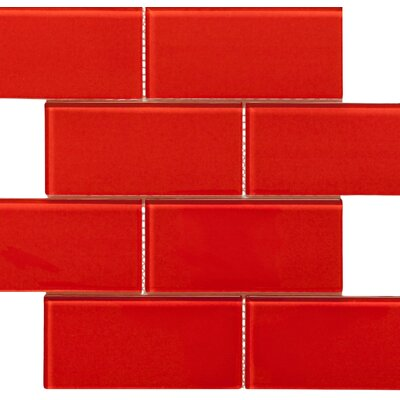 Blocco 3 x 6 Glass Subway Tile in Fireberry