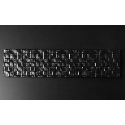 Riz 12 x 3 Glass Tile in Cubica Black