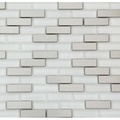 Aria 0.5 x 2 Metal and Glass Mosaic Tile in Steel Ice