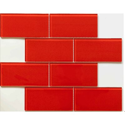 Blocco 3 x 6 Glass Field Tile in Fireberry