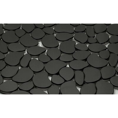 Random Sized Metal Pebble Tile in Black