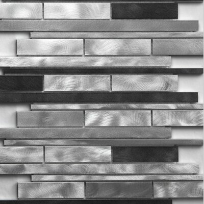 Strada Random Sized Metal Mosaic in Platinum Brush