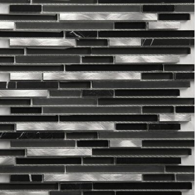 Riga Random Sized Metal/Glass/Stone Mosaic Tile in Silver and Black
