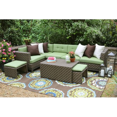 Hampton 8 Piece Sunbrella Sectional Set With Cushions