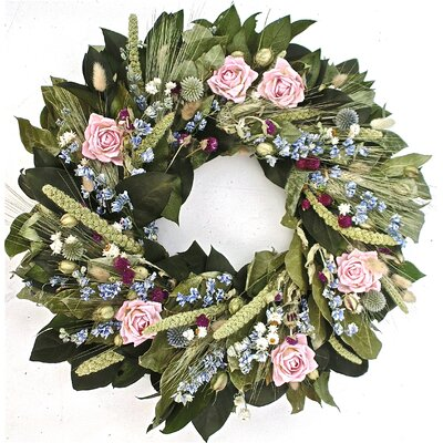 22 Miniature Rose and Globe Thistle Wreath Size: 30 H x 30 W x 6 D