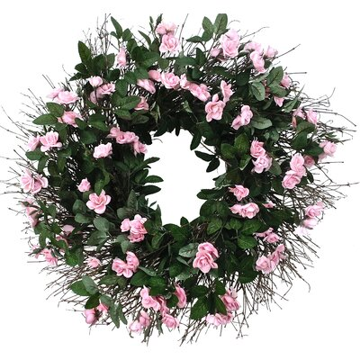 22 Pink Rose Wreath Size: 22 H x 22 W x 5 D