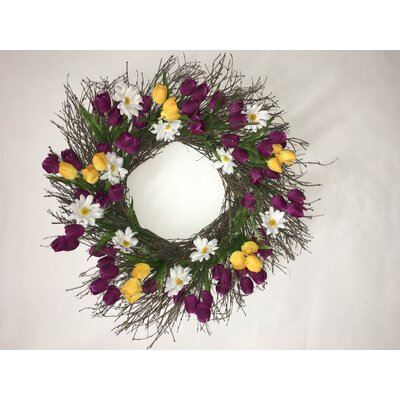 Tulip and Daisy Wreath Size: 22 H x 22 W